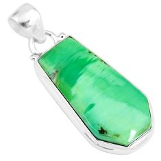 14.23cts natural green variscite 925 sterling silver handmade pendant r83589