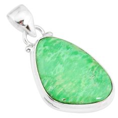 12.22cts natural green variscite 925 sterling silver handmade pendant r83590