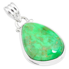 13.67cts natural green variscite 925 sterling silver handmade pendant r83592