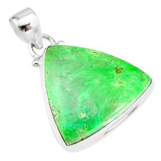 15.08cts natural green variscite 925 sterling silver handmade pendant r83594
