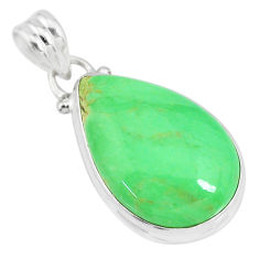 14.72cts natural green variscite 925 sterling silver handmade pendant r83601