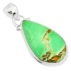 13.15cts natural green variscite 925 sterling silver handmade pendant r83602