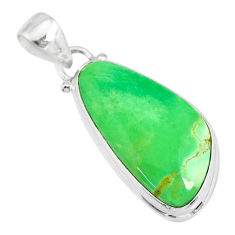 14.23cts natural green variscite 925 sterling silver handmade pendant r83605