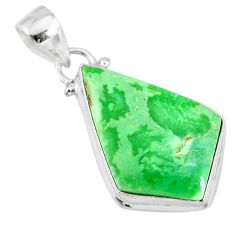 12.58cts natural green variscite 925 sterling silver handmade pendant r83606