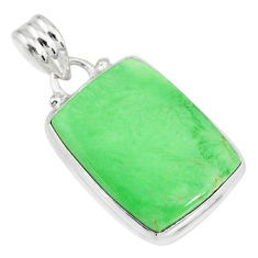 13.70cts natural green variscite 925 sterling silver handmade pendant r83608