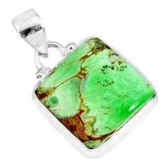 10.65cts natural green variscite 925 sterling silver handmade pendant r83613
