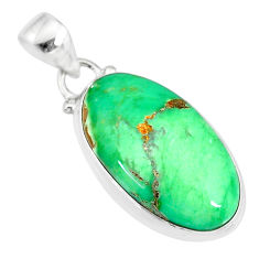 13.22cts natural green variscite 925 sterling silver handmade pendant r83615