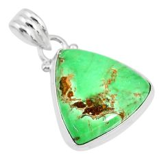 13.20cts natural green variscite 925 sterling silver handmade pendant r83618