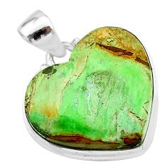 19.23cts natural green variscite 925 sterling silver pendant jewelry t13321