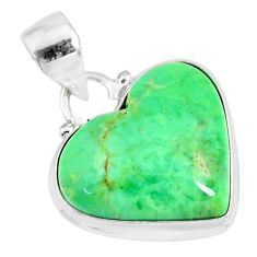 12.55cts natural green variscite heart 925 sterling silver pendant r83607