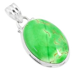 12.22cts natural green variscite oval 925 silver handmade pendant r83611