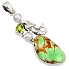 23.45cts natural green variscite peridot 925 silver fairy mermaid pendant d47381