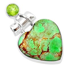 12.22cts natural green variscite peridot 925 sterling silver pendant t13161
