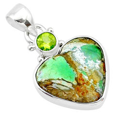 11.20cts natural green variscite peridot 925 sterling silver pendant t13162