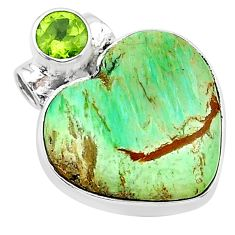 12.72cts natural green variscite peridot 925 sterling silver pendant t13163