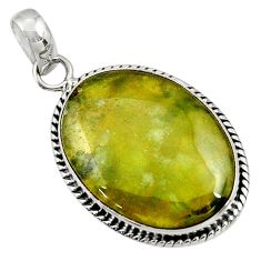 Clearance Sale- 17.18cts natural green vasonite 925 sterling silver pendant jewelry d41223