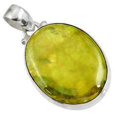 Clearance Sale- 18.12cts natural green vasonite 925 sterling silver pendant jewelry d41231