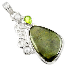 Clearance Sale- 27.08cts natural green vasonite peridot pearl 925 silver seahorse pendant d41808
