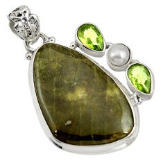 Clearance Sale- 30.88cts natural green vasonite peridot pearl 925 sterling silver pendant d41301