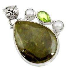 Clearance Sale- 26.70cts natural green vasonite peridot pearl 925 sterling silver pendant d41302