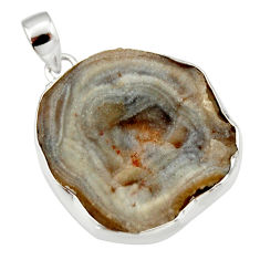 30.49cts natural grey desert druzy (chalcedony rose) 925 silver pendant r33641