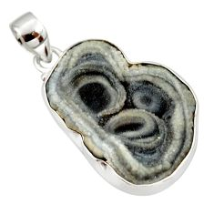 18.68cts natural grey desert druzy (chalcedony rose) 925 silver pendant r33656