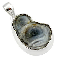 24.38cts natural grey desert druzy (chalcedony rose) 925 silver pendant r33859