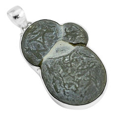 40.28cts natural grey fairy stone 925 sterling silver pendant jewelry r94170