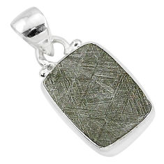 5.54cts natural grey meteorite gibeon 925 sterling silver pendant jewelry r95305