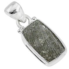 7.52cts natural grey meteorite gibeon 925 sterling silver pendant jewelry r95311