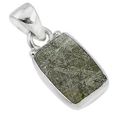 7.52cts natural grey meteorite gibeon 925 sterling silver pendant jewelry r95316