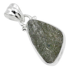 7.96cts natural grey meteorite gibeon 925 sterling silver pendant jewelry r95318