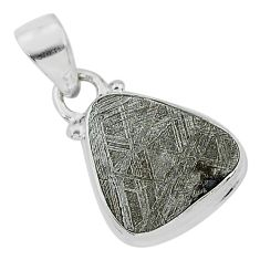 7.18cts natural grey meteorite gibeon 925 sterling silver pendant jewelry r95322
