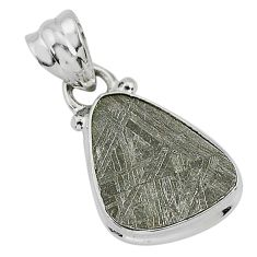 5.59cts natural grey meteorite gibeon 925 sterling silver pendant jewelry r95323
