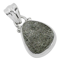 7.92cts natural grey meteorite gibeon 925 sterling silver pendant jewelry r95330