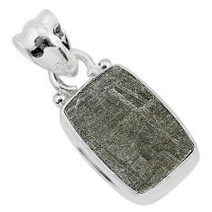 5.47cts natural grey meteorite gibeon 925 sterling silver pendant jewelry r95331