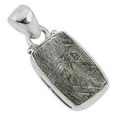 8.30cts natural grey meteorite gibeon 925 sterling silver pendant jewelry r95333
