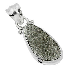 7.63cts natural grey meteorite gibeon 925 sterling silver pendant jewelry r95337