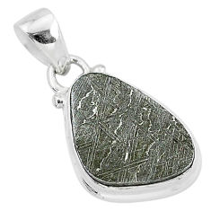 9.95cts natural grey meteorite gibeon 925 sterling silver pendant jewelry r95345