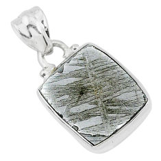 7.29cts natural grey meteorite gibeon 925 sterling silver pendant jewelry r95352