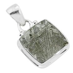 8.65cts natural grey meteorite gibeon 925 sterling silver pendant jewelry r95354