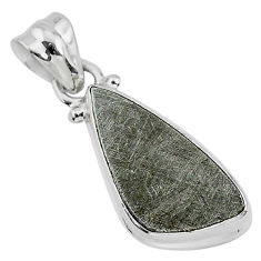7.92cts natural grey meteorite gibeon 925 sterling silver pendant jewelry r95357