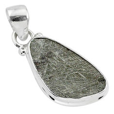 9.33cts natural grey meteorite gibeon 925 sterling silver pendant jewelry r95359