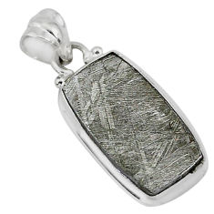 9.67cts natural grey meteorite gibeon 925 sterling silver pendant jewelry r95369