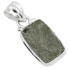 5.90cts natural grey meteorite gibeon 925 sterling silver pendant jewelry r95370