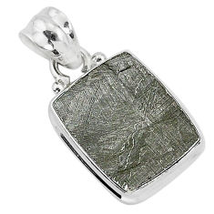 6.95cts natural grey meteorite gibeon 925 sterling silver pendant jewelry r95371
