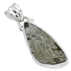 9.62cts natural grey meteorite gibeon 925 sterling silver pendant jewelry r95374
