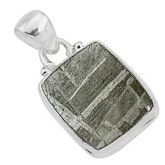 5.85cts natural grey meteorite gibeon 925 sterling silver pendant jewelry r95375
