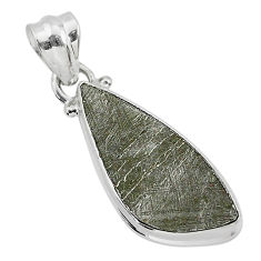 6.95cts natural grey meteorite gibeon 925 sterling silver pendant jewelry r95377