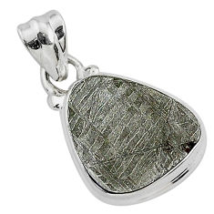 8.99cts natural grey meteorite gibeon 925 sterling silver pendant jewelry r95378